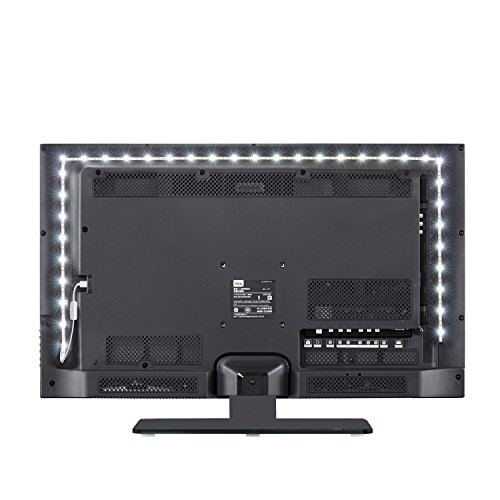TV LED Light Strip lights Purewhite JACKYLED USB Plug DC 5V 9.8ft Bias Lighting 6000k Switch But ...