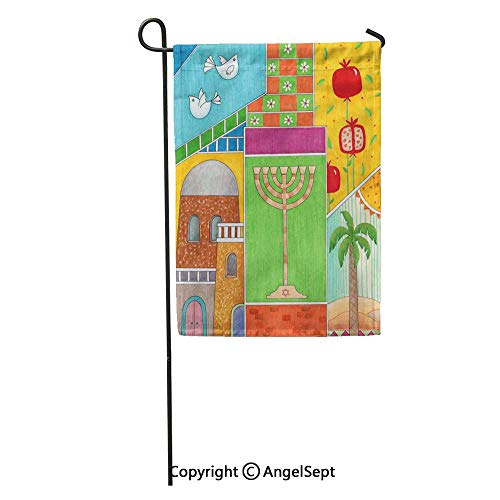 Durable Creative Design 12x18in Garden Flag Colorful Jerusalem Rosh Hashanah Greeting Whimsy of Jewish New Year Home Yard House Decor Outdoor Stand