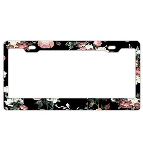 Crysss License Plate Frame Vintage Flowers Stainless Steel, Car Tag Cover,License Plate Frame Women, License Plate Covers Us Vehicles Standard - Vintage Pink and Cream Dark Floral