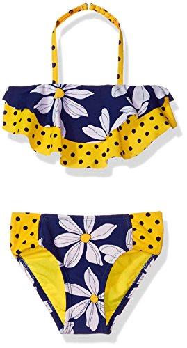 Hulu Star Little Girls' Daisy Chain Two Piece Bikini Swimsuit, Navy/Yellow, - Girl Hula Suit Bikini Bathing