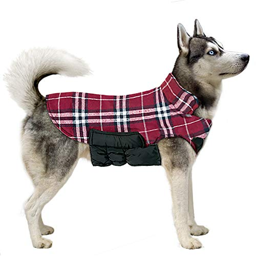 TPYQdirect Dog Jacket Waterproof Coat Windproof Pet Vest Warm Clothes Reversible British Style Plaid Winter Coats Cold Weather Jackets Sweater for Extra Large Dogs, Red XXXL