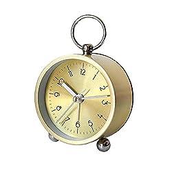 3in Metal Alarm Clock,Mini Non-Ticking Vintage Small Alarm Clock,Retro Desk Clock Copper for Living Room,Bedroom,Kids and Deco (Gold)