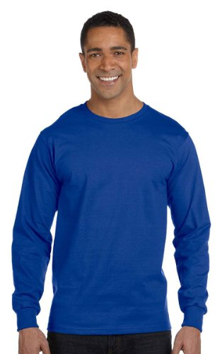 100% Comfortsoft Cotton (Hanes 5.2 oz. ComfortSoft Cotton Long-Sleeve T-Shirt L DEEP ROYAL)