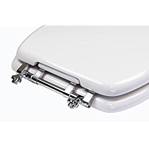 TOPSEAT TinyHiney Potty Elongated Toilet Seat, Adult/Child, w/Chromed Metal Hinges (Elongated White)