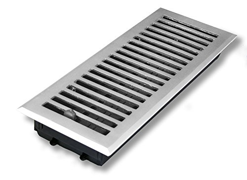 4 X 12 Brushed Nickel Contemporary Floor Vent / (Brushed Nickel Contemporary Floor Steel)
