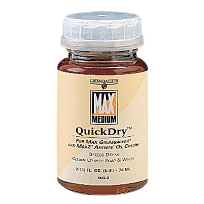 Water Miscible Oil Paint (Grumbacher Quickdry Medium for MAX Water-Mixable Oil Paints, 2-1/2 Oz. Jar,)