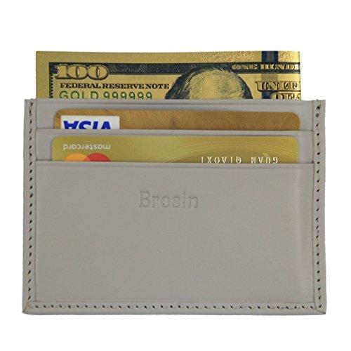 Brosin Genuine Leather Mens Wallet - RFID Blocking Slim Minimalist Front Pocket Wallet & Credit Card Holder