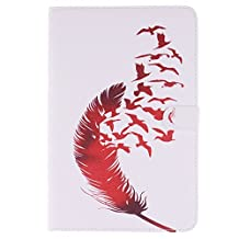Galaxy Tab A 8.0 Case, Easytop Premium PU Leather Flable Stand Wallet Case with Built-in Card Slots, Cash Pocket, Magnetic Closure for Samsung Galaxy Tab A 8.0 Inch SM-T350 Tablet (Red Feather Birds)