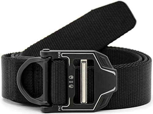 - CHESSUN Riggers Tactical Belt, Military Style Nylon Webbing CQB Belt with Heavy-Duty Metal Buckle and D-Ring, 1.5
