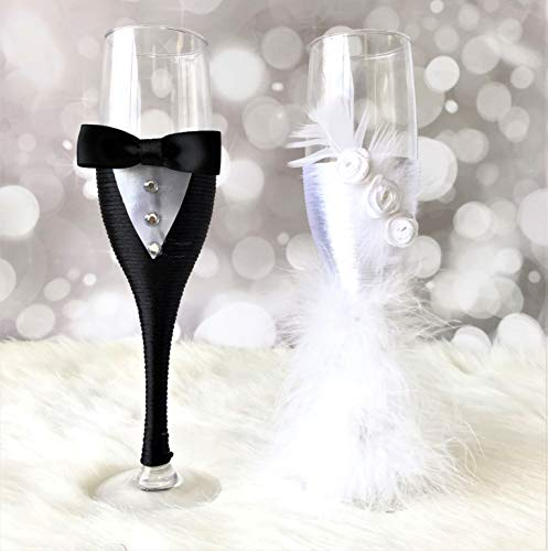 Abbie Home Wedding Champagne Toasting Flute - Feather Dress Black Suit Decorated Bride and Groom Glasses, Set of 2 (Glass Set) ()