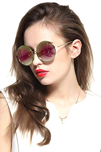 Gee-Look Oversized Round Circle Mirrored Hippie Hipster Sunglasses - Metal Frame (Pink, as -