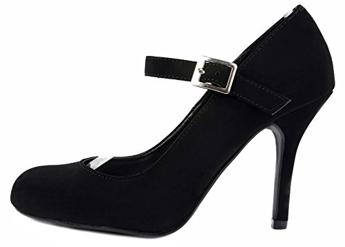 Koppa Basic Classic Mary-Jane Round Toe Stiletto Mid Heel Dress Pump Dress Shoes BK NUBUCK I71l4hLOyS