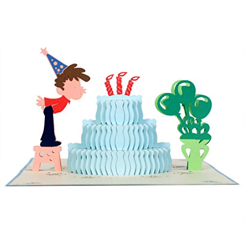CutePopup Birthday Cake 3D Pop-Up Birthday Cards Boy Son Grandson Ideal Birthday, Thanks Giving, Christmas, Baby Showers Anniversaries