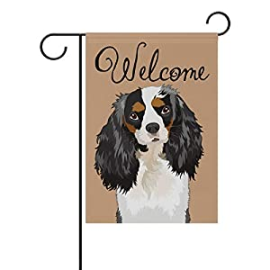 My Daily Welcome Cavalier King Charles Spaniel Dog Decorative Double Sided Garden Flag 12 x 18 inch Garden Banner Yard Flag 5