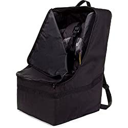 Zohzo Adjustable Padded Bag for Car Seat, Black with Black Trim