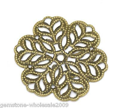 FidgetKute Wholesale Lots Craft Bronze Tone Flower Wraps Connectors Embellishment 29x29mm 1000PCs One Size