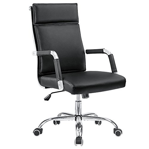 Homall Office Chair Mid-Back Computer Chair Modern Desk Chair PU Leather Executive Swivel Task Chair Conference Chair with Thick Backrest Seat Covered Armrests (Black) by Homall