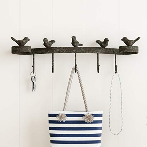 - Lavish Home Decorative Birds on Ribbon Cast Iron Shabby Chic Rustic Wall Mount Hooks for Coats, Towels, Hats, Scarves, Jewelry, and More