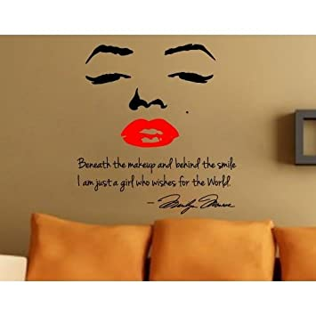 Marilyn Monroe Face U0026 Red Lip Portrait Silhouette Wall Sticker Decal Decor  Girlu0027s Bedroom Decorative Wall Part 50
