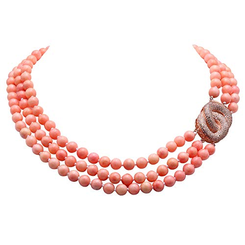 (JYX Multi Strand Coral Necklace 8mm Pink Coral Beads Three-strand Necklace with Rhinestone Clasp 18-20