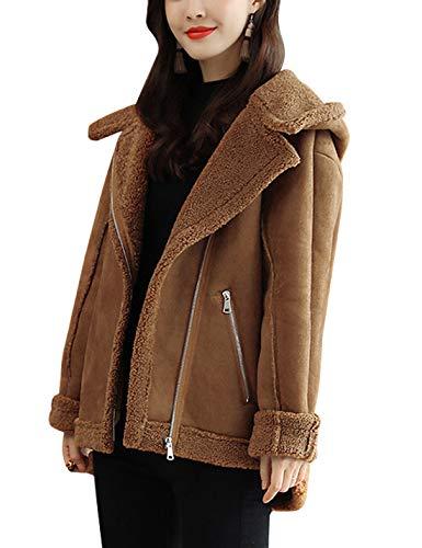 - Omoone Women's Slant Zip Up Hooded Sherpa Lined Faux Suede Biker Jacket Coats (Camel, L)