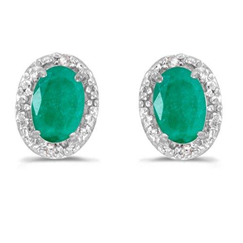 (14K White Gold Oval Emerald and Diamond Earrings (7/8ct tgw))