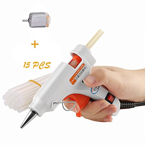 Hot Melt Glue Gun Mini High Temperature Glue Gun Kit for Home & Office DIY small craft Projects, Sealing & Instant Repairs with 15 pcs Glue Sticks and 1 Mini Motor (20Watt White)