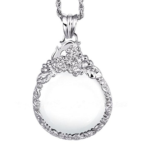 WaMLFac Unique Vintage Silver Color Ornate Elegant Long Chain Magnifying Glass Pendant Necklaces for Mothers Day