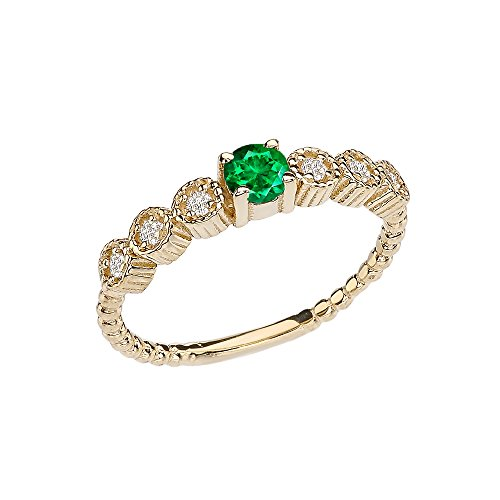 14k Diamond Stackable/Promise Beaded Popcorn Collection Ring in Yellow Gold with Emerald Center Stone (Size 8)