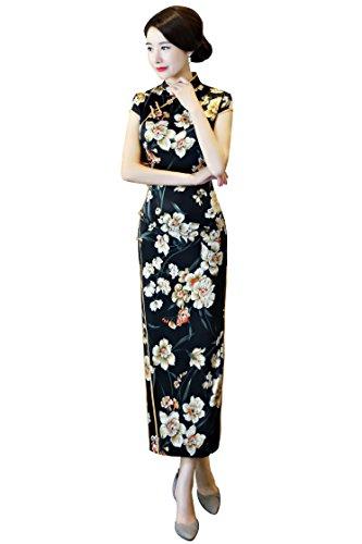 oriental flower print dress - 5