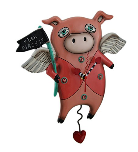 Allen Designs When Pigs Fly Pendulum Wall Clock 13 in.