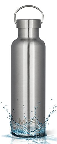 MIRA 25 Oz Stainless Steel Vacuum Insulated Portable Sports Water Bottle   Double Walled   No Sweating, Keeps Your Drink Cold for 24 hours & Hot for 12 hours   2 Lids   Steel