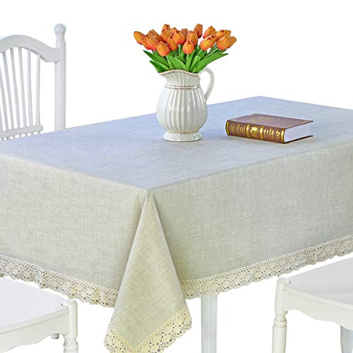 DARUITE Vinyl Tablecloth Heavy Weight Rectangle Tablecloth Oil-Proof/Waterproof Stain-Resistant/ - Great for Buffet Table, Parties, BBQ's, Wedding & More(Linen, 61x86.6inch) (Linen Tablecloth Oilcloth)