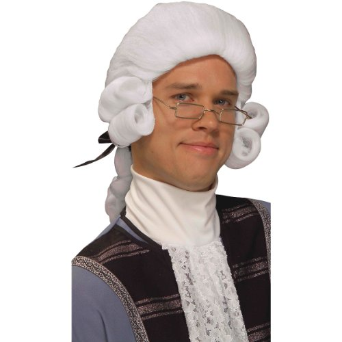 Forum Novelties Men's Colonial George Washington Historical Costume Wig, White, One Size