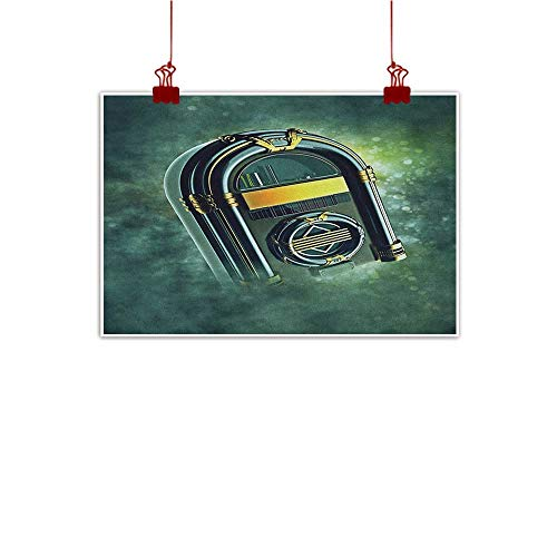 Wall Painting Prints Jukebox,Abstract Grunge Antique Radio Music Box on Blurry Backdrop Print, Forest Green Yellow and White 20