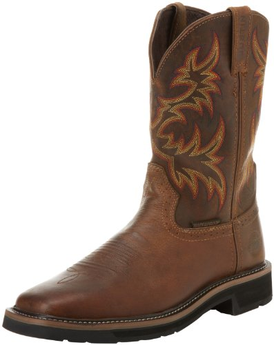 """Justin Original Work Boots Men's Stampede Collection 11"""" Waterproof Boot Stampede Square Toe,Rugged Tan,13 D US"""
