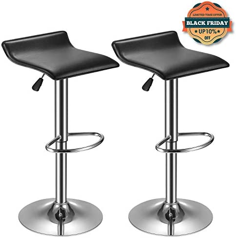 kealive Bar Stool PU Leather Set of 2 Adjustable Bar Chairs, Kitchen Counter Height Swivel Barstools with Footrest Modern Stool Set Dining Chairs Black