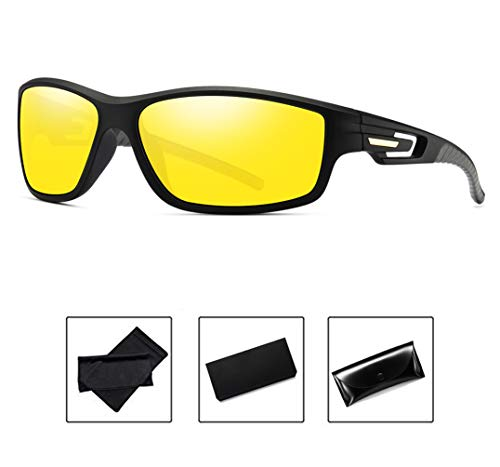 31990aef735 Polarized Sunglasses Mens Women Night Driving Anti Glare HD Vision Sports  Sunglasses(Yellow)