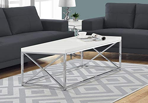 Monarch Specialties Coffee Table – Modern Cocktail Table with Metal Base, 44 L White