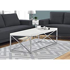 Living Room Monarch Specialties Modern Coffee Table for Living Room Center Table with Metal Frame, 44 Inch L, Glossy White / Chrome modern coffee tables