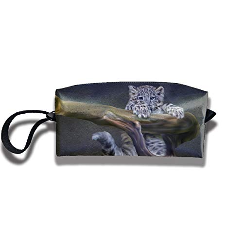 Cosmetic Bags With Zipper Makeup Bag Snow Leopard Baby Middle Wallet Hangbag Wristlet -
