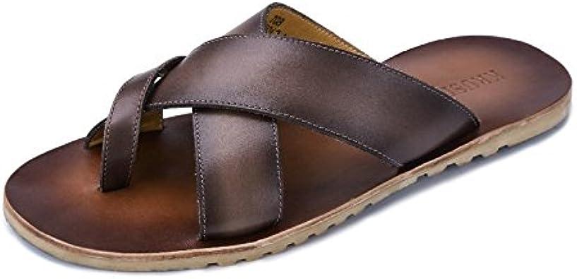 Zapatos para Hombre Chanclas de Cuero Genuino de los Hombres