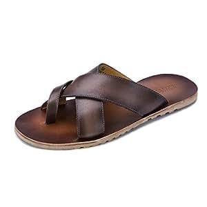Summer Men's Genuine Leather Flip Flops Flat Sandals Shoes for Men Beach Sandals Natural Leather Shoes Man Flip Flops (Color : Brown, Size : 10-MUS)