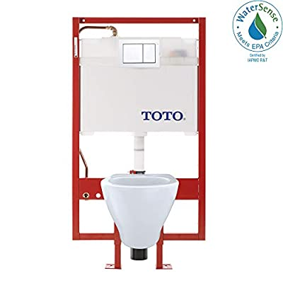 Toto CWT418MFG-2No.01 Aquia Wall-Hung Toilet and In-Wall Tank System-1.6-GPF / 0.9-GPF, Cotton