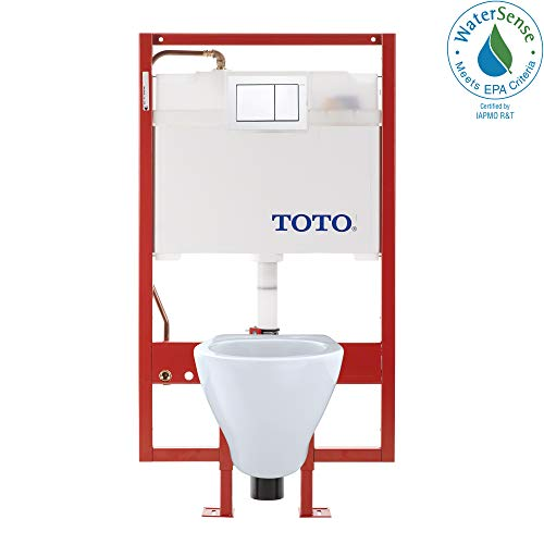 Toto CWT418MFG-2No.01 Aquia Wall-Hung Toilet and In-Wall Tank System-1.6-GPF / 0.9-GPF, Cotton (Best Toilet Flush System)