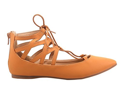 Cute Adjustable Tie Up Laces Back Zipper Ladies Womens Ballet Flats Point Toe Without Box (8, Tan) Ankle Tie Flats