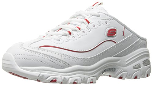 Skechers Sport Women's D'Lites Scene Setter Fashion Sneaker, White/Red, 8 M US
