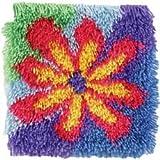 Bulk Buy: Caron Wonderart (2-Pack) Shaggy Latch Hook Kit 12in. x 12in. Flower Power 426302