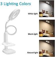 LUXNOVAQ USB Lamparas de mesa Luz de clip flexible con 3 temperatura de color y brillo ajustable continuo y control t/áctil para Oficina Cama blanco L/ámpara escritorio LED Luz de lectura con pinza