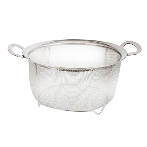 - U.S. Kitchen Supply 3 Quart Stainless Steel Mesh Net Strainer Basket with a Wide Rim, Resting Feet and Handles - Colander to Strain, Rinse, Fry, Steam or Cook Vegetables & Pasta